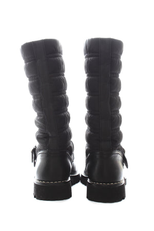 Chanel Quilted Leather Buckled Boots