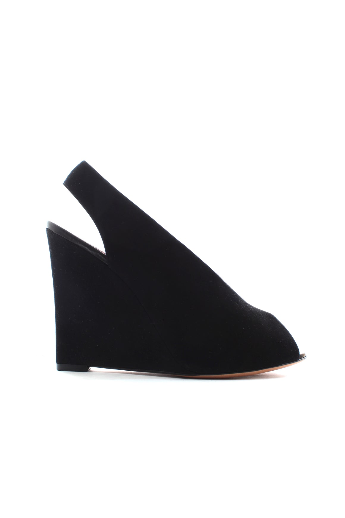Celine Suede Open Toe Wedge Pumps