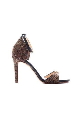 Mulberry Pony-Hair Croc-Effect Leather Sandals