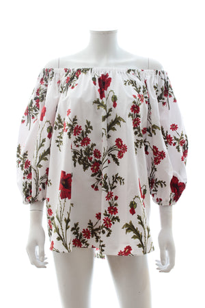 Alexander McQueen Off-the-shoulder Floral Print Cotton-Poplin Top