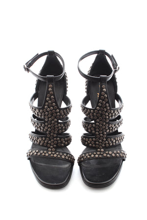 Saint Laurent Studded Leather Strap Sandals