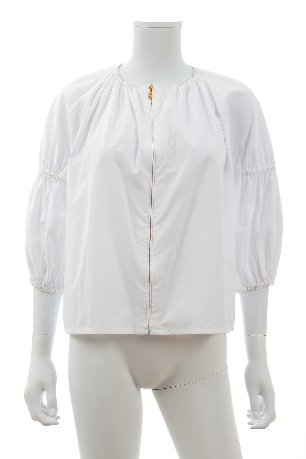 Kenzo Zip-Front Elasticated Cotton Blouse
