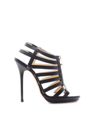 Jimmy Choo Zip-Front Leather Stap Sandals