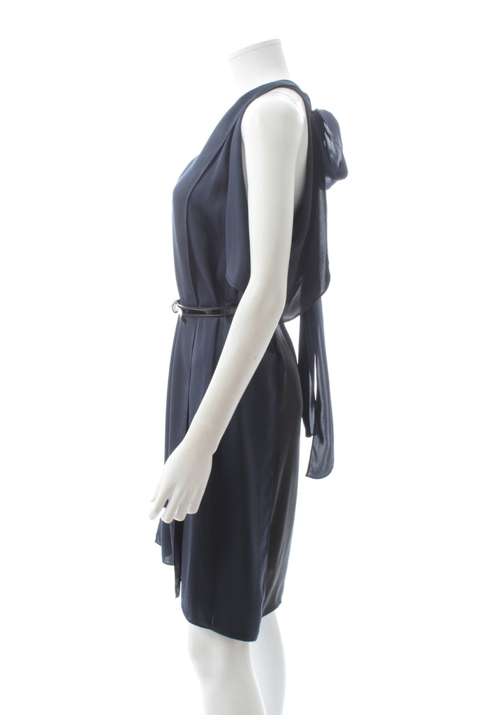 Stella McCartney Two-Tone Belted Draped Silk Dress