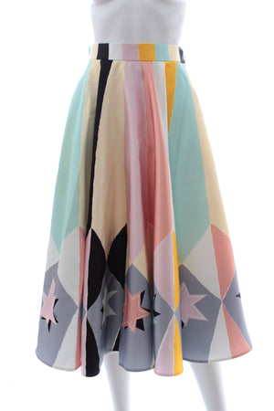 Emilio Pucci Satin Abstract Star Print Midi Skirt