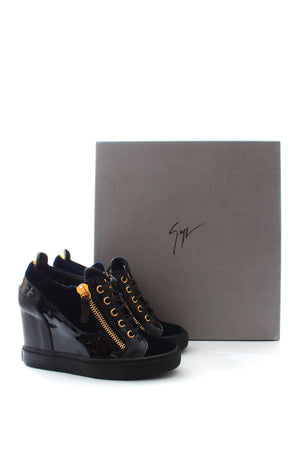 Giuseppe Zanotti Lorenz 75 Leather Wedge Sneakers