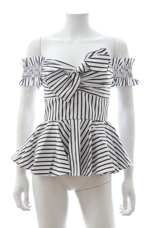 Caroline Constas Artemis Off-the-shoulder Striped Bustier Top