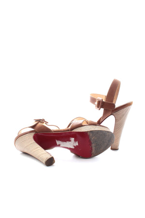Christian Louboutin Wooden Heel Leather Sandals