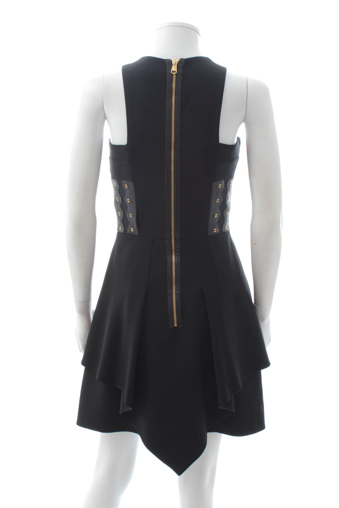 Versace Collection Leather-Trimmed Eyelet Detail Crepe Dress