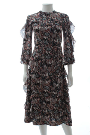 Valentino Japanese Butterfly Silk-Chiffon Ruffle Dress