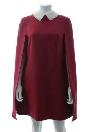 Valentino Wool-Silk Blend Cape Dress with Victorian Lace Collar
