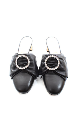 Gucci Crystal-Embellished Bow Leather Slippers