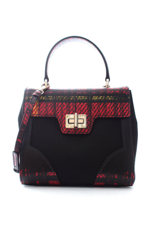 Prada Tartan Saffiano Leather-Trimmed Turnlock Bag