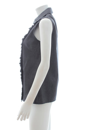 Miu Miu Ruffled Cotton Sleeveless Blouse