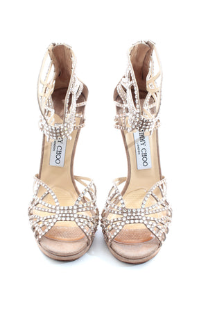 Jimmy Choo 'Diva' Crystal-Embellished Cut-Out Metallic Leather Sandals