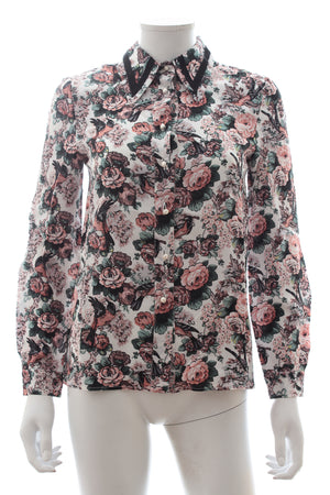 Miu Miu Pearl-Button Floral-Bird Print Silk Blouse