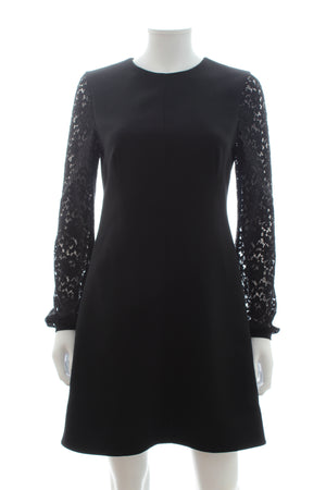 Saint Laurent Lace Sleeve Wool Dress
