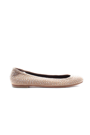 Giuseppe Zanotti Crystal Embellished Suede Ballet Flats