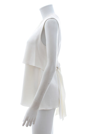 Miu Miu Sleeveless Tie Back Crepe Top