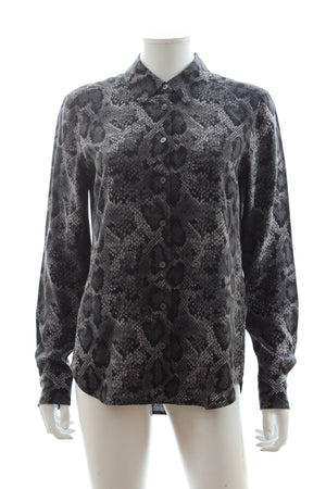 Equipment Snakeskin Print Silk Shirt