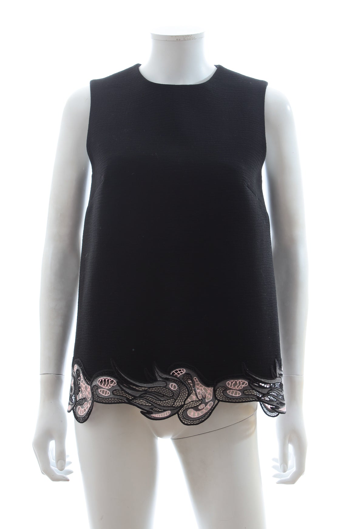 Christopher Kane Guipure Lace-Trimmed Wool-Crepe Top