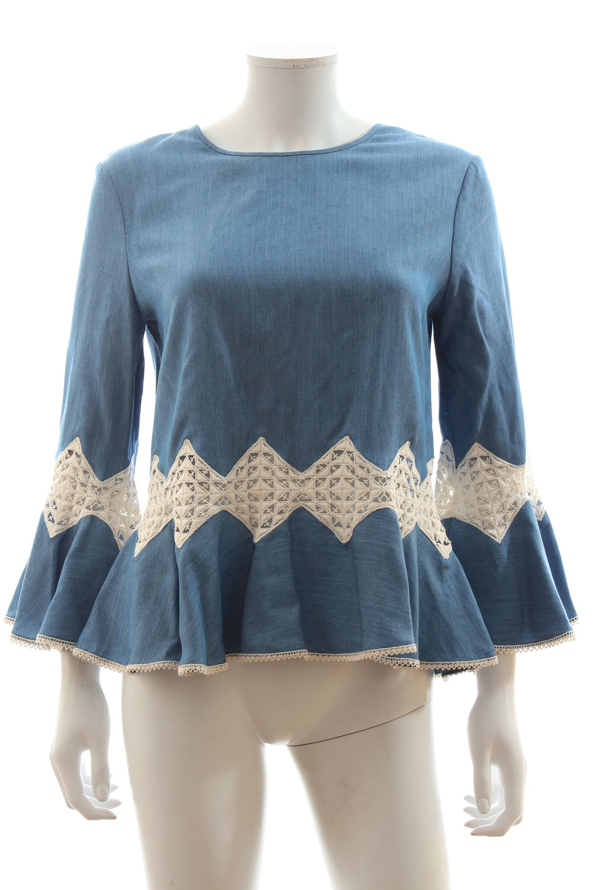 Jonathan Simkhai Lace Inset Chambray Top