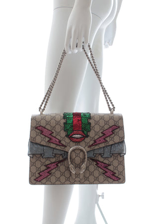 Gucci Dionysus GG Supreme Monogram Embellished Medium Shoulder Bag