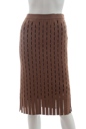 Alexander Wang Fringed Cut-Out Knit Skirt