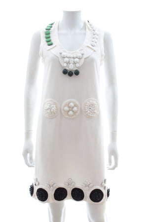 Prada Embellished Cotton Shift Dress