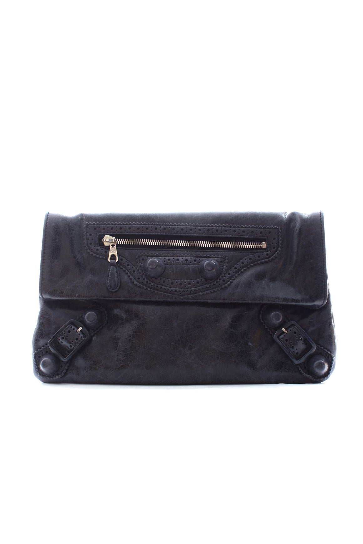 Balenciaga Giant Brogues Leather Clutch Bag