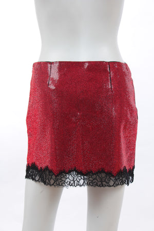 Philosophy di Lorenzo Serafini Lace-Trimmed Rhinestone Embellished Mini Skirt