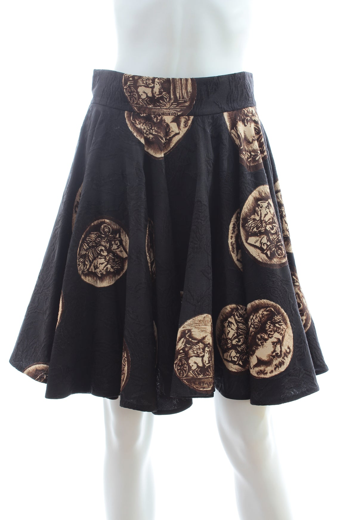 Dolce & Gabbana Coin Printed Textured Pleated Skirt