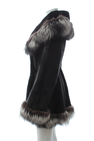 Furs of Mayfair Fox Fur-Trimmed Mink Fur Coat