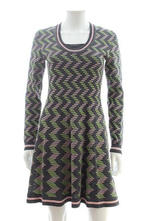 M Missoni Metallic Zig-Zag Knit Dress
