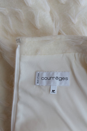 Courrèges Leather-Trimmed Textured Wool-Blend Mini Dress