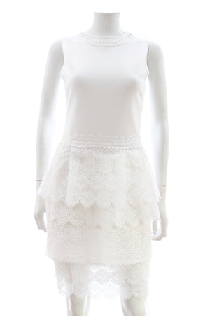 Antonio Berardi Stretch-knit and Broderie Anglaise Dress