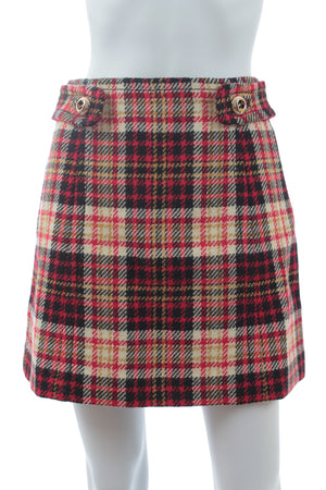 Prada Plaid Wool Mini Skirt