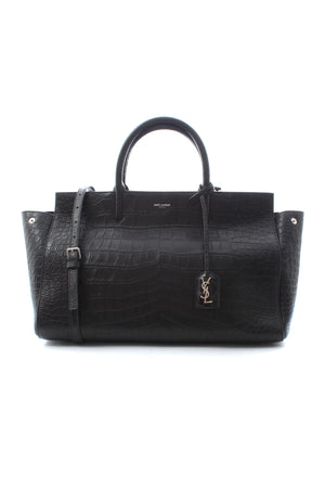 Saint Laurent Cabas Rive Gauche Croc-Embossed Leather Bag