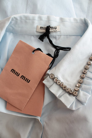 Miu Miu Crystal Embellished Cotton-Jacquard Shirt