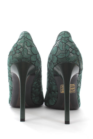 Ermanno Scervino Lace-Trimmed Leather Pumps