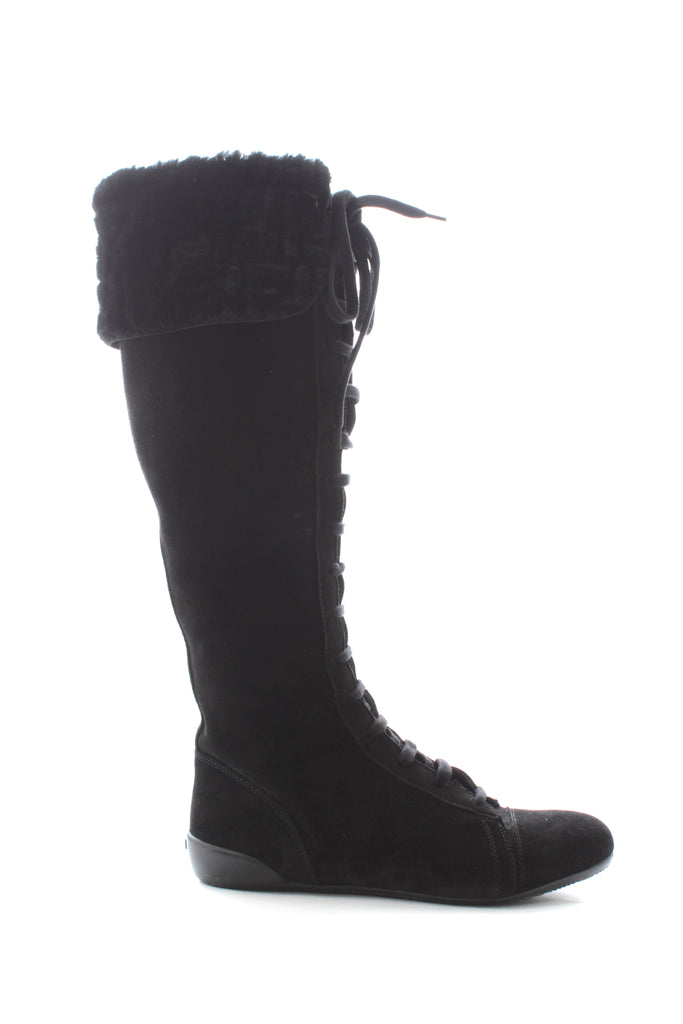 Fendi Shearling-Lined Lace-Up Suede Boots