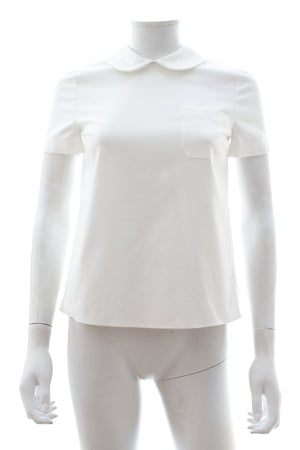 Miu Miu Silk-Panelled Peter Pan Collar Cotton Blouse