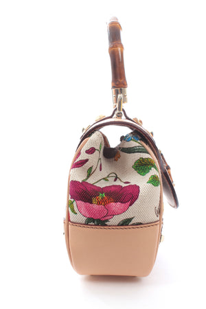 Gucci Flora Floral Printed Canvas and Bamboo Top Handle Bag - Limited Edition