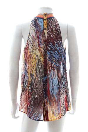 Missoni Printed Chiffon Top with High Knitted Neck