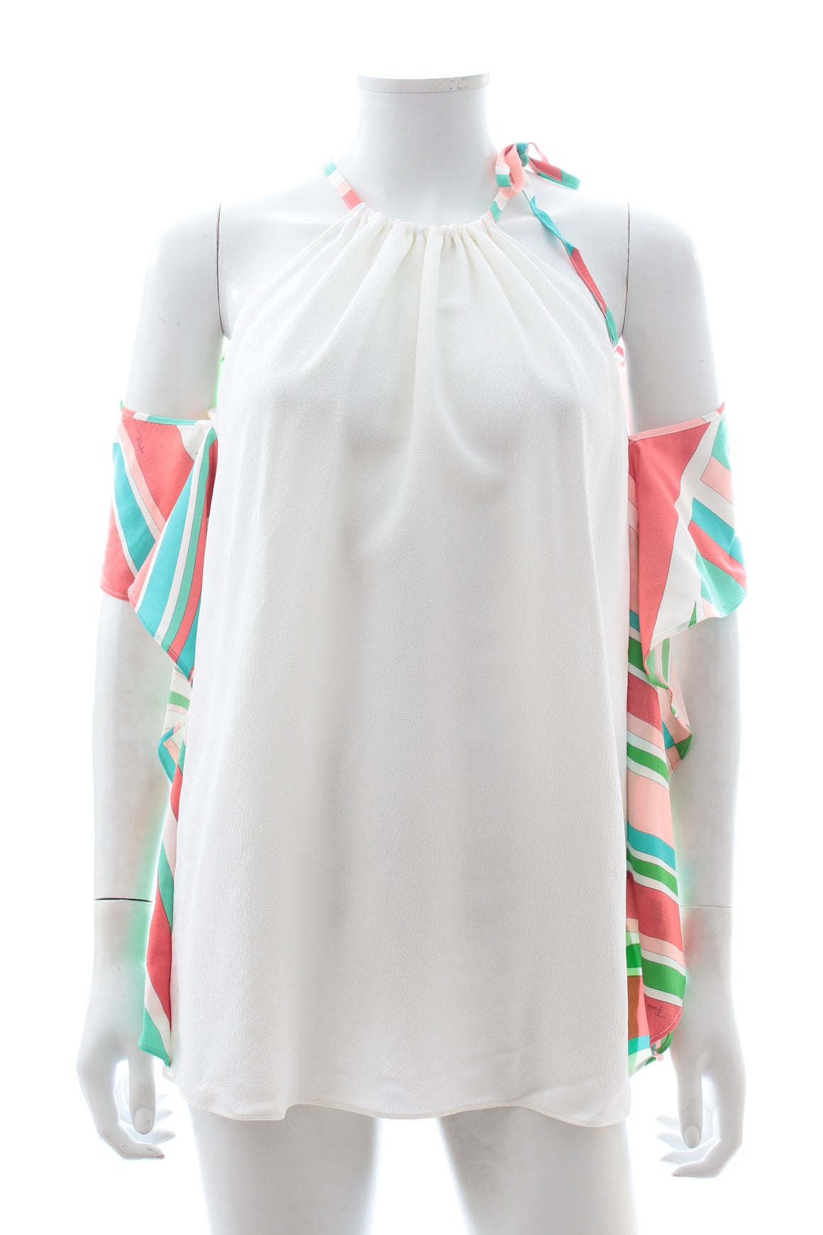 Emilio Pucci Cold Shoulder Shell Print Silk-Blend Top