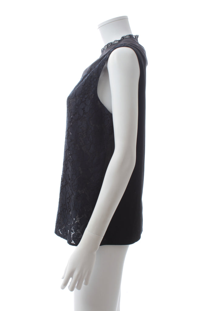 Prada Sleeveless Lace-Panel Blouse