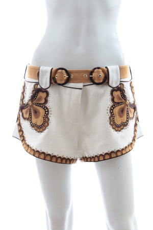 Zimmermann 'Zippy' Applique Linen Shorts