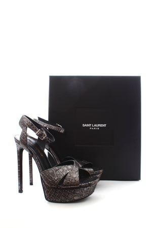 Saint Laurent Bianca Textured Metallic Leather Platform Sandals