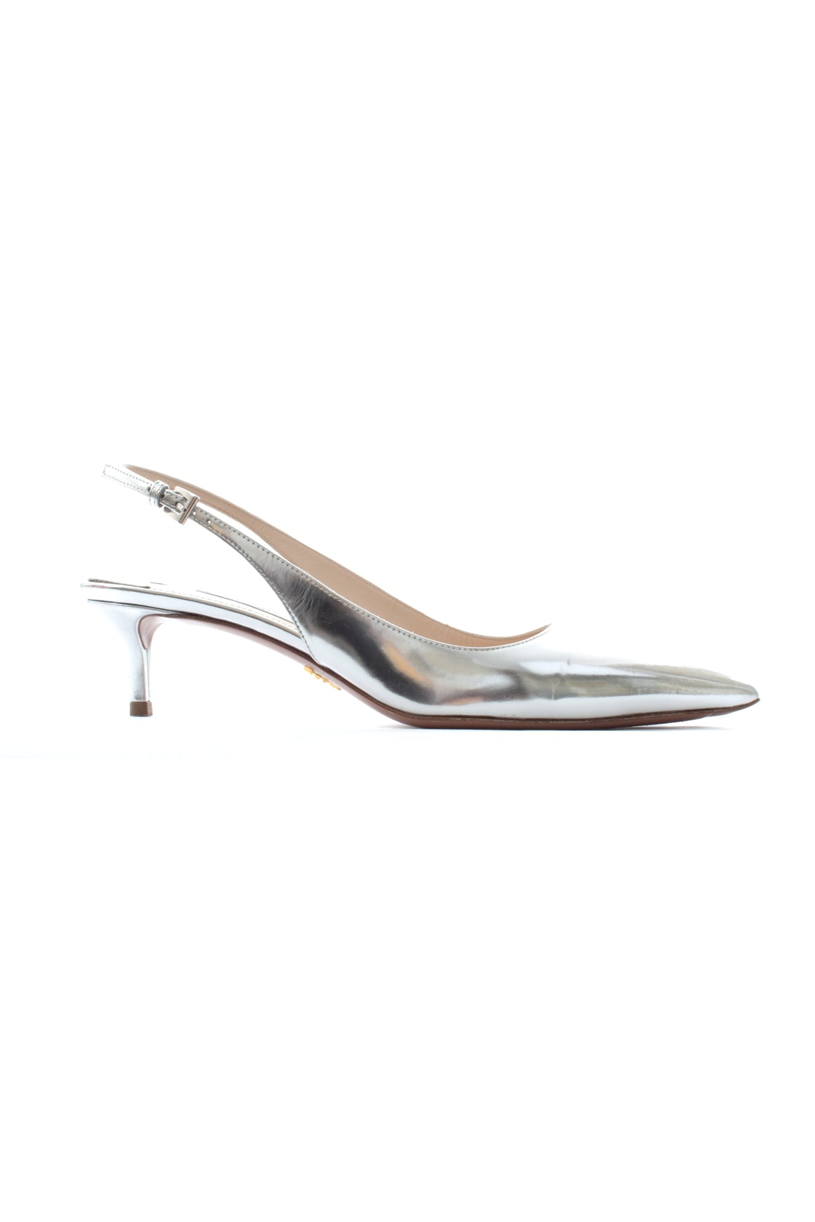 Prada Metallic Pointed Slingback Pumps
