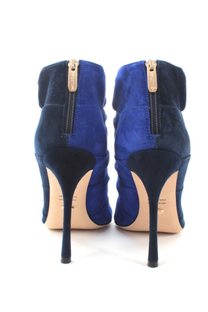 Sergio Rossi Royal Knotted Suede Two-Tone Cutout Ankle Boots